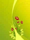 Abstract background with Flowers. Abstract green modern background with waves and flowers Royalty Free Stock Photo