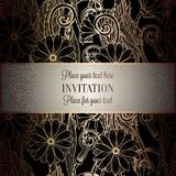 Abstract background with flowers. Luxury black and gold vintage tracery made of daisy flowers, damask floral wallpaper ornaments, invitation card, baroque Royalty Free Stock Image