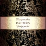 Abstract background with flowers. Luxury black and gold vintage tracery made of daisy flowers, damask floral wallpaper ornaments, invitation card, baroque royalty free illustration