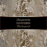 Abstract background with flowers. Luxury black and gold vintage tracery made of daisy flowers, damask floral wallpaper ornaments, invitation card, baroque Stock Image