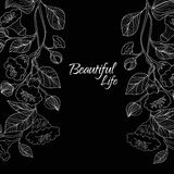 Abstract background with flowers in black and. Vector illustration of Abstract background with flowers in black and white style Royalty Free Stock Photos