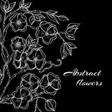 Abstract background with flowers in black and Stock Photo