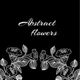 Abstract background with flowers in black and Royalty Free Stock Images
