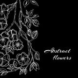 Abstract background with flowers in black and Stock Photography