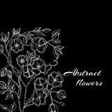 Abstract background with flowers in black and. Vector illustration of Abstract background with flowers in black and white style Stock Photography