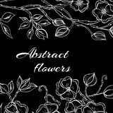 Abstract background with flowers in black and Royalty Free Stock Photography
