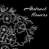 Abstract background with flowers in black and Royalty Free Stock Image