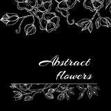 Abstract background with flowers in black and Royalty Free Stock Photo