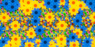 Abstract background, flowers. Abstract background, blue and yellow flowers Stock Photo