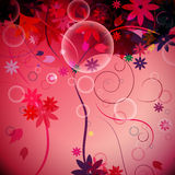 Abstract background. With flowers and bubbles vector illustration