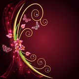 Abstract background with flowers and butterflies with gems Royalty Free Stock Image