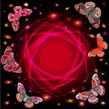 Abstract background with flowers and butterflies Stock Image