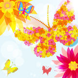 Abstract background with  flowers and butterflies . Stock Photography