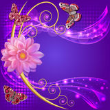 Abstract background with flowers and butterflies wi Royalty Free Stock Images