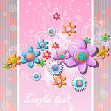 Abstract background with flowers and buttons. Royalty Free Stock Photo