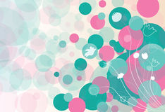 Abstract background with flowers and circles. Vector illustration Royalty Free Stock Images