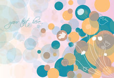 Abstract background with flowers and circles. Vector illustration Stock Photos