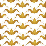 Abstract background with flowers of lily, tulips. Luxury vector. Pattern for design of invitation cards, fabric. Golden flowers on white background royalty free illustration