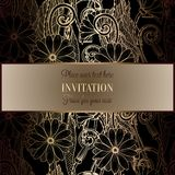 Abstract background with flowers. Luxury black and gold vintage tracery made of daisy flowers, damask floral wallpaper ornaments, invitation card, baroque vector illustration