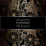Abstract background with flowers. Luxury black and gold vintage tracery made of daisy flowers, damask floral wallpaper ornaments, invitation card, baroque stock illustration