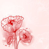 Abstract background of flowers. Poppies - A Place in the text - vector illustration for ethnic creative design projects Stock Illustration