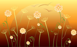 Abstract background with flowers,  Stock Photo