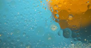 Abstract Background from flowing oil stains. Blue and yellow colors stock footage