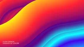 Abstract background with a fluid gradient color flow and motion of a wavy liquid lines. Eps10 stock illustration