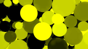 Abstract background. Fluorescent yellow luminous balls. Theme parties. 3d render illustration Stock Photography