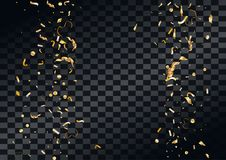 Abstract background with flying in the air scattered golden confetti. Stock Photos