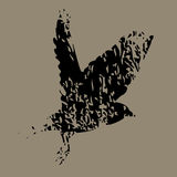 Abstract background with a flying bird. On a brown background black outline of a soaring bird Vector Illustration