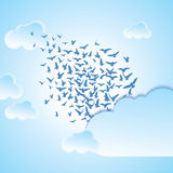 Abstract background flying birds  illustration Stock Image