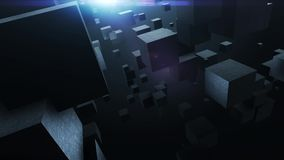 Abstract background with flying cubes, loop stock footage