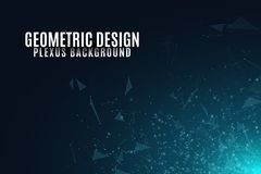Abstract background of flying geometric particles on a dark background. Connected triangles and luminous dust. Scientific backgrou. Nd for your design. Vector Vector Illustration