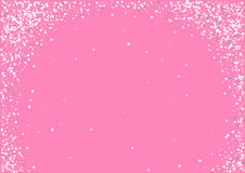 Abstract background with flying heart shaped confetti. Abstract background with flying white heart shaped confetti. Vector illustration on pink background Royalty Free Stock Photography