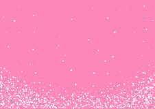 Abstract background with flying heart shaped confetti. Abstract background with flying white heart shaped confetti. Vector illustration on pink background Royalty Free Stock Image