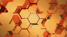 Abstract background of flying hexagons. Seamless loop