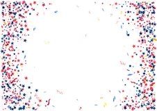 Abstract background with flying red blue silver stars confetti isolated. Blank festive template for usa patriotic holidays. Celebration 4th July, Patriot Day stock illustration
