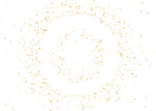 Abstract background with flying subtle golden confetti. Abstract background with flying subtle golden gradient confetti. Vector illustration isolated on white Stock Photo