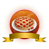 Abstract background food cherry pie yellow red circle gold frame ribbon illustration Royalty Free Stock Photos