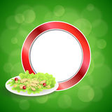 Abstract background food chicken Caesar salad tomato crackers green red circle frame illustration. Vector Stock Image