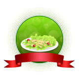 Abstract background food chicken Caesar salad tomato crackers green red orange circle frame ribbon illustration Royalty Free Stock Photography