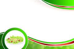 Abstract background food chicken Caesar salad tomato crackers green red yellow illustration. Vector Stock Images