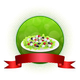 Abstract background food Greek salad tomato feta cheese green black olives onion red green yellow circle frame ribbon illustration. Vector Stock Photo