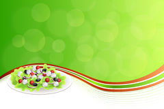 Abstract background food Greek salad tomato feta cheese green black olives onion red green yellow frame illustration. Vector Royalty Free Stock Image