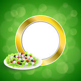Abstract background food Greek salad tomato feta cheese green black olives onion red green yellow gold circle frame illustration Royalty Free Stock Images