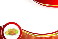 Abstract background food grilled salmon fish tomato French fries lemon yellow salad green red gold frame circle illustration. Vector royalty free illustration
