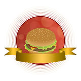 Abstract background food hamburger gold tape red circle frame Stock Image