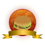 Abstract background food hamburger gold tape red circle frame. Vector Stock Images