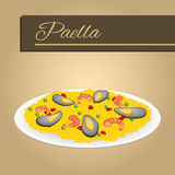 Abstract background food paella rice peas pepper shrimp mussel beige frame illustration Stock Photography